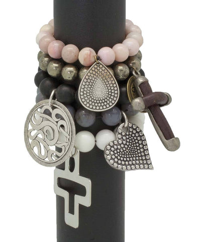 editions-lessisrare-jewelry-bracelet-lhassa-agate-gray-heart-pendant Editions LESSisRARE Jewelry 2