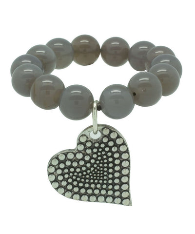 editions-lessisrare-jewelry-bracelet-lhassa-agate-gray-heart-pendant Editions LESSisRARE Jewelry 1