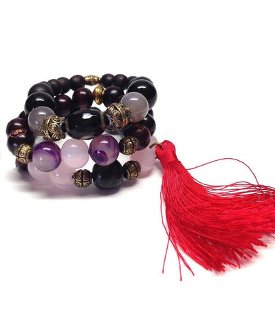 jewels-of-mala-trio-to-wrist-Tibetan mala-wood agate-pink