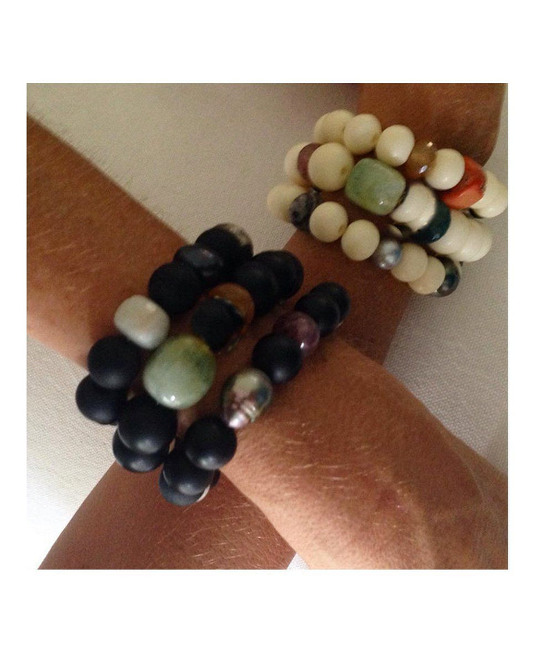 lara-Curcio-jewelry-trio-wrist bone-coral-beads-fine-onyx and agate