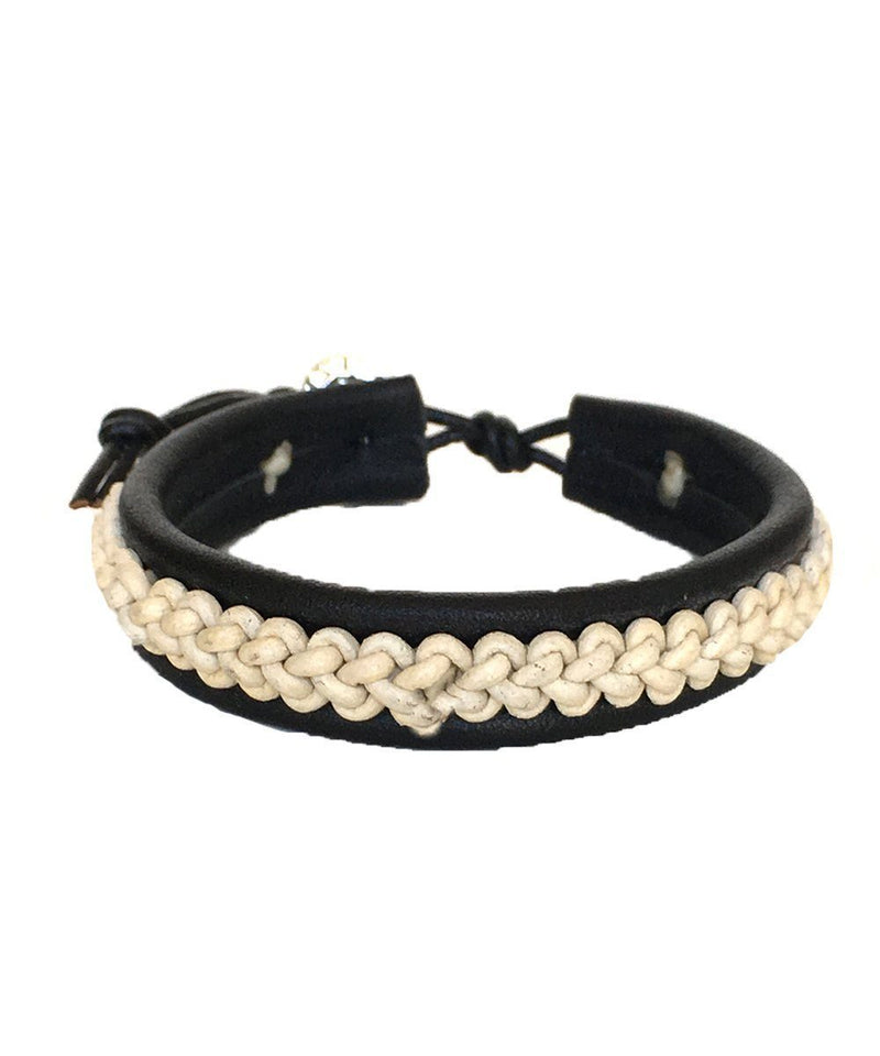 White braided leather bracelet - Nakamol