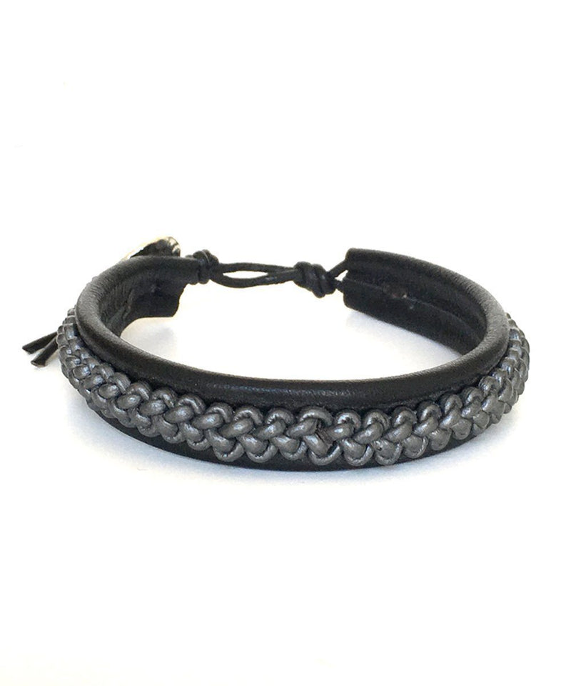Braided leather bracelet gray - Nakamol