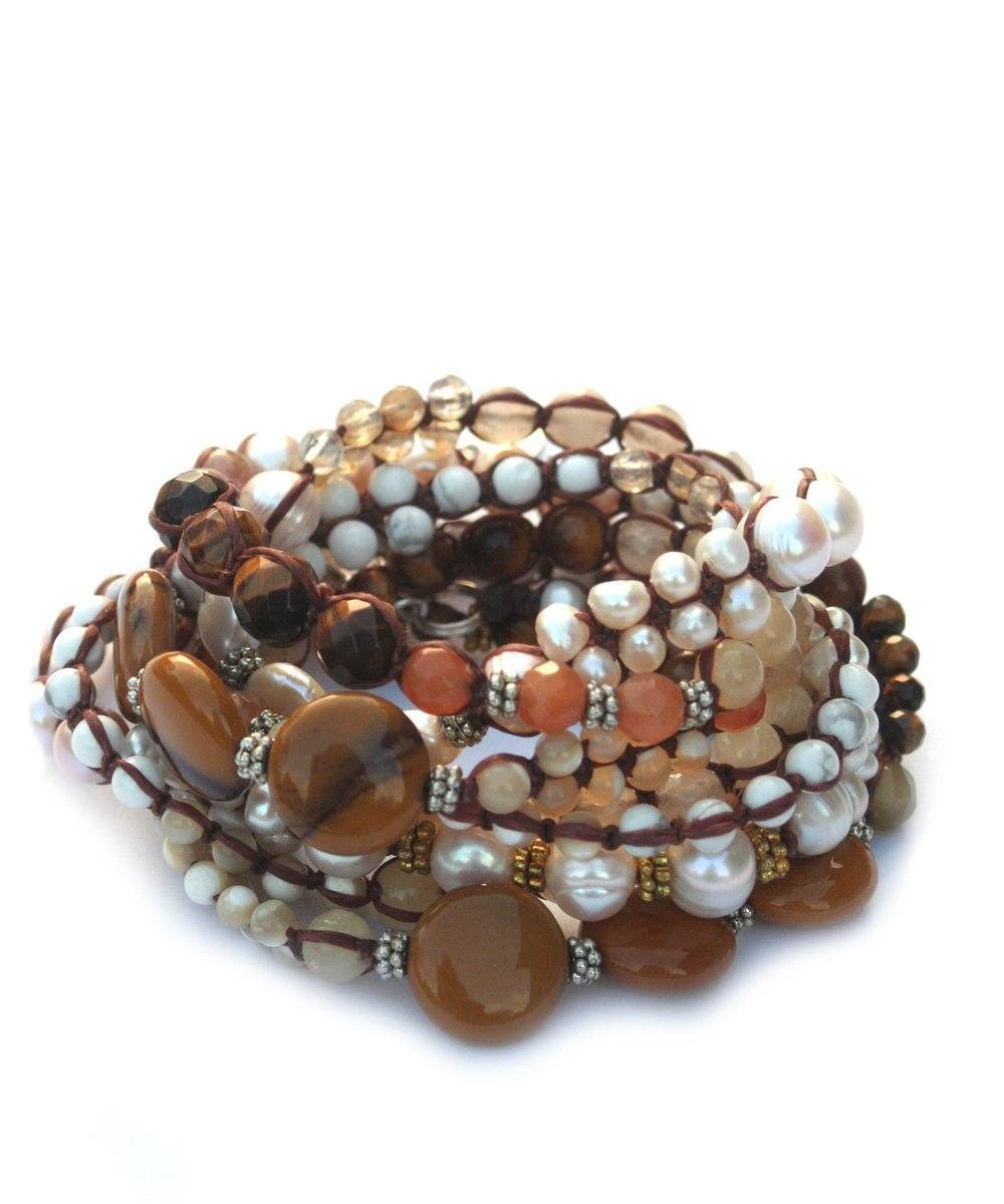 NAKAMOL wrist-wrap-tiger-eye-and-pearl-water sweet