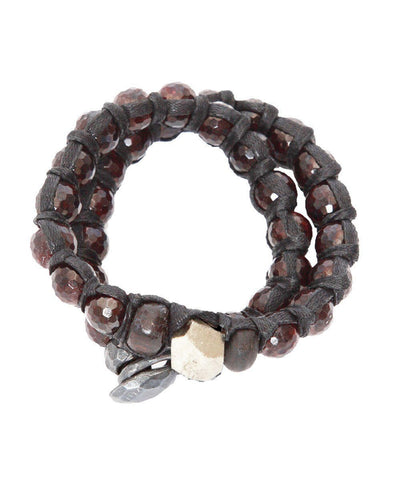 vanessa-dee-double bracelet garnet-and-pyrite