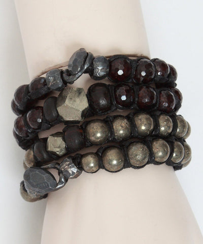 vanessa-dee-double bracelet garnet-and-pyrite-worn
