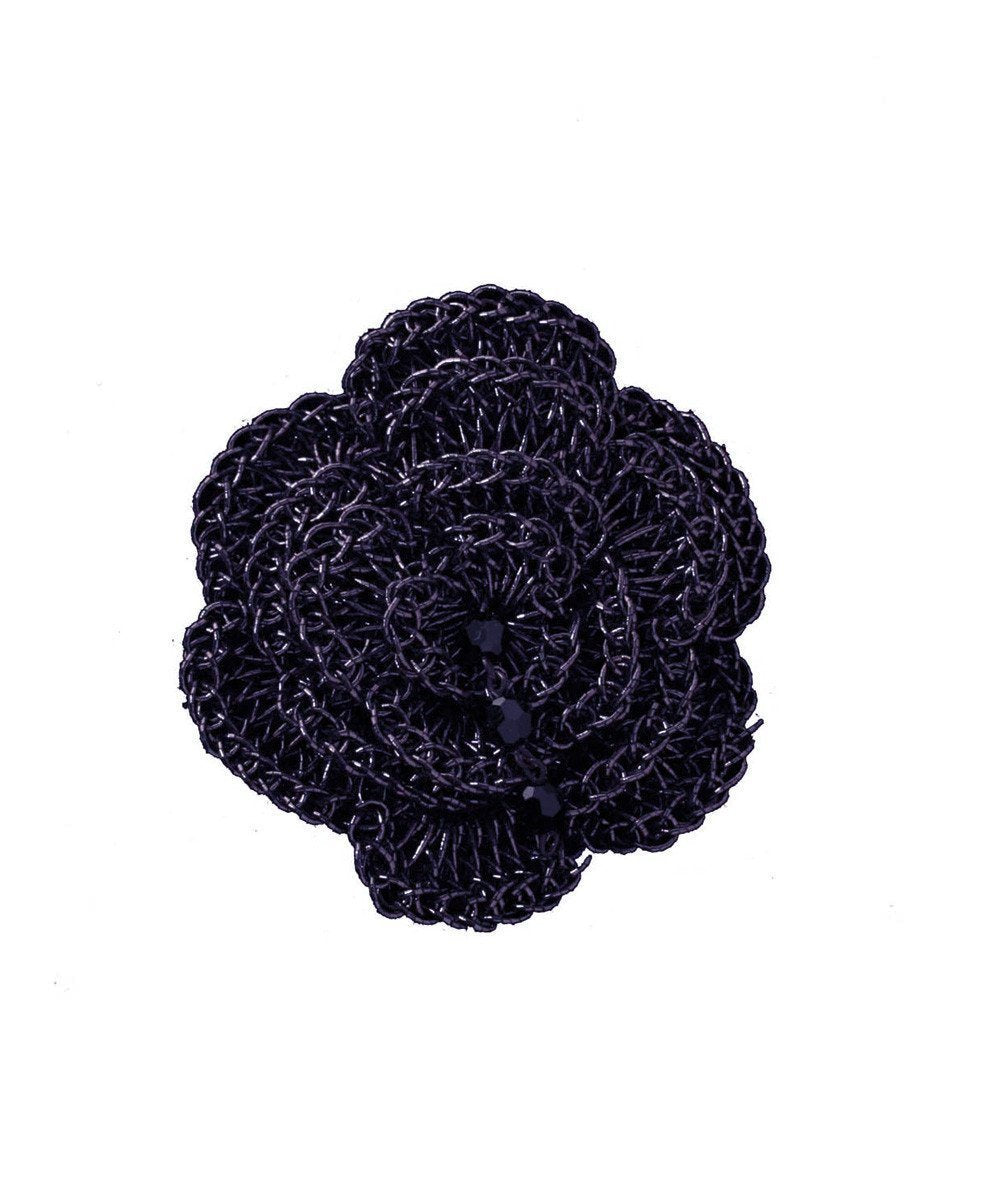 Broche Fleur crochetée - Marine - Betty Gabrielle