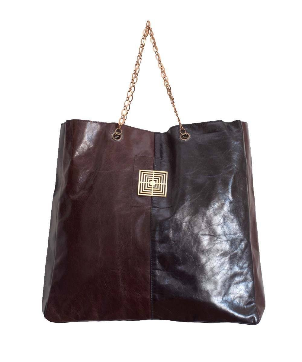 Cuba Libre Two-Tone Leather Tote Bag - Under the Cobblestones