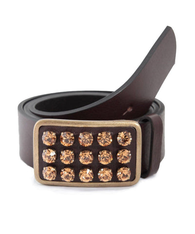 ronald-pineau-belt-leather-brown and-crystals-swarovski