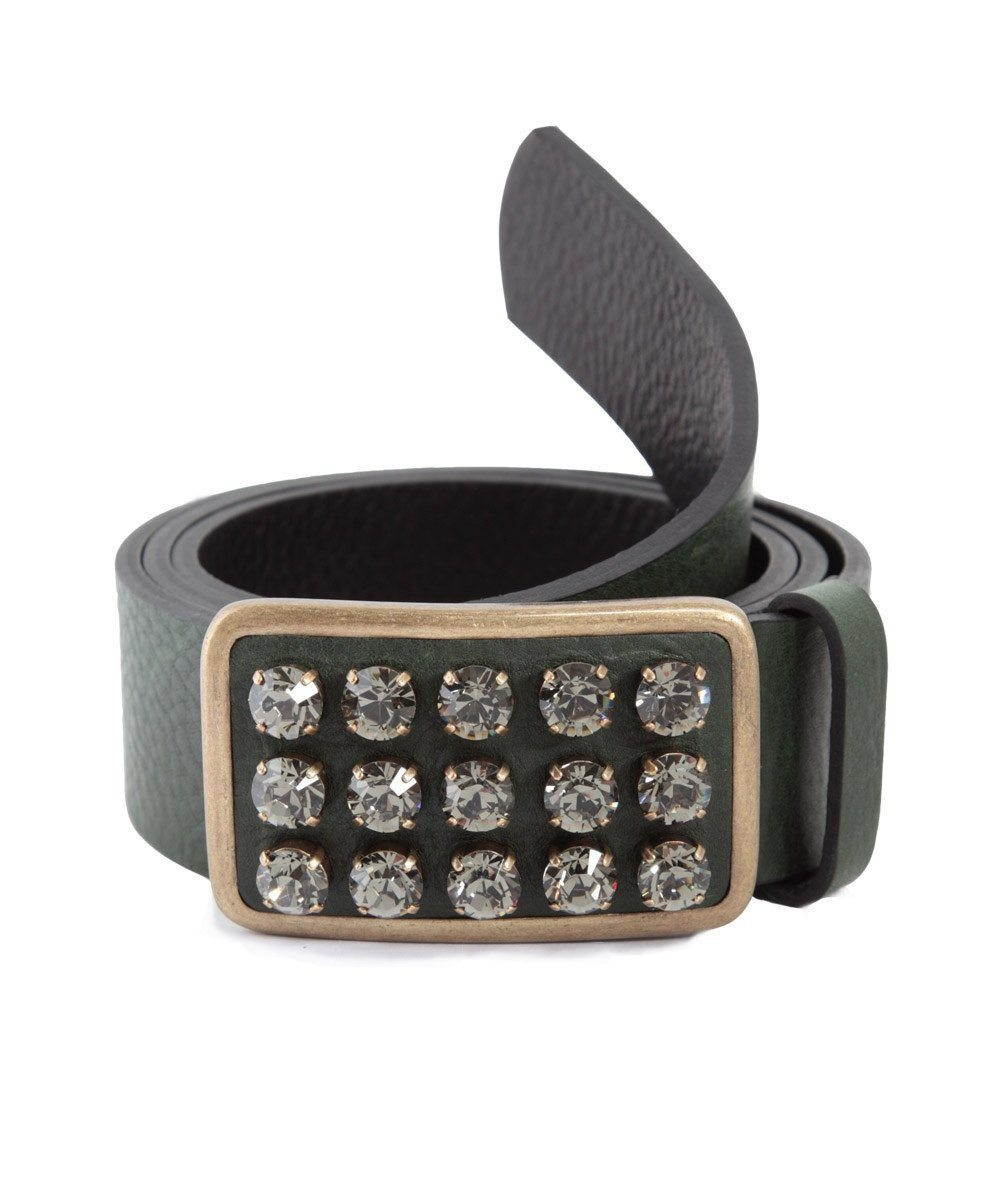 Leather belt-green-and-Swarovski-crystal-ronald-Pineau