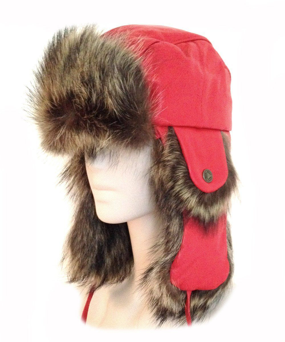 Chapka leather and red fur - Editions LESSisRARE