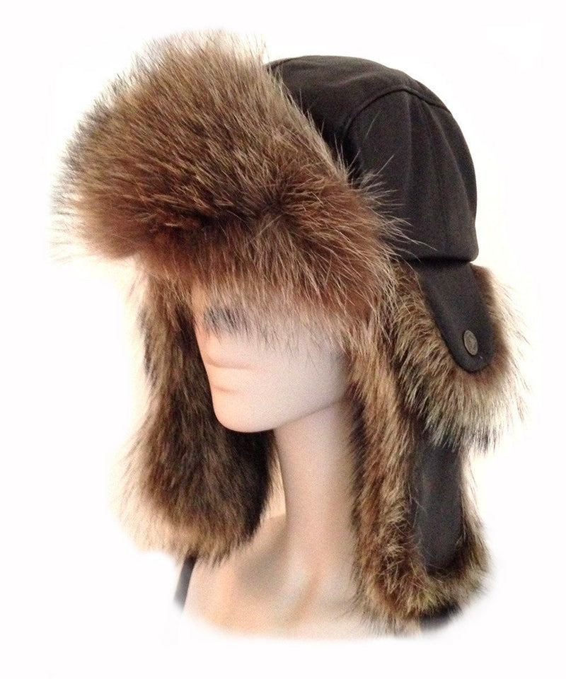 chapka-hat-leather-brown-with-fur-raccoon Editions LESSisRARE