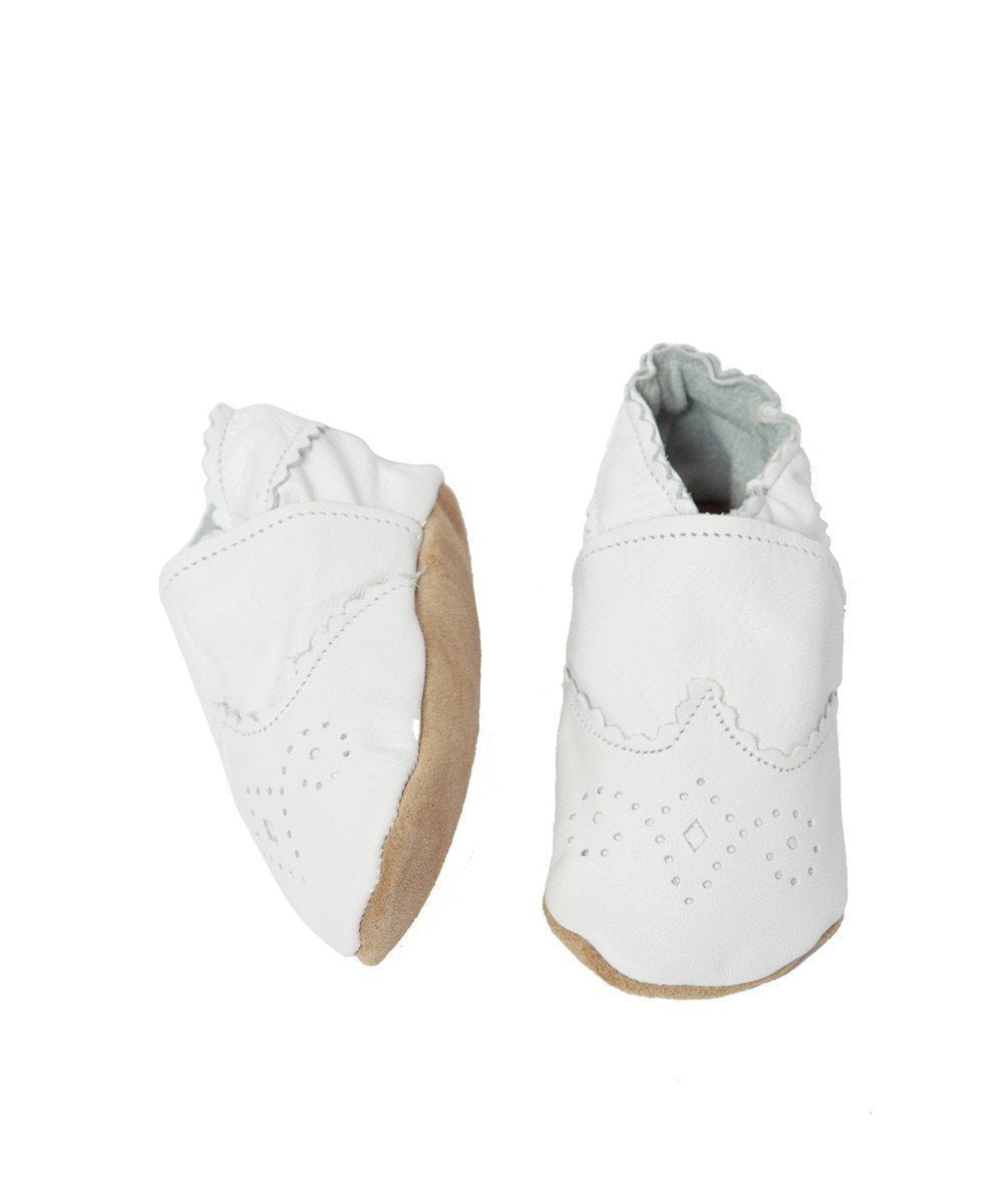 White openwork leather baby shoes - Star