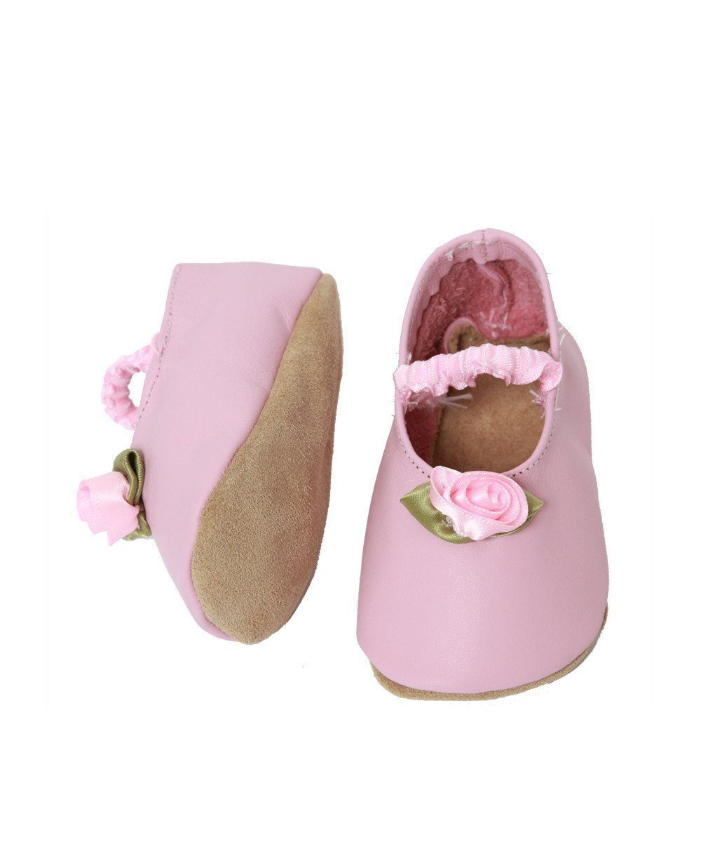 Pink leather and flower baby booties - Star