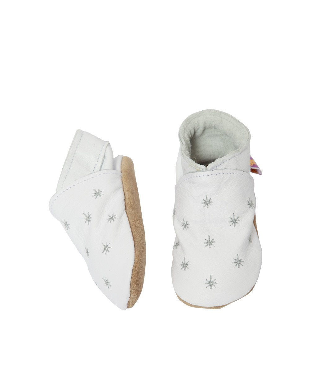 Baby shoes white leather star - Star