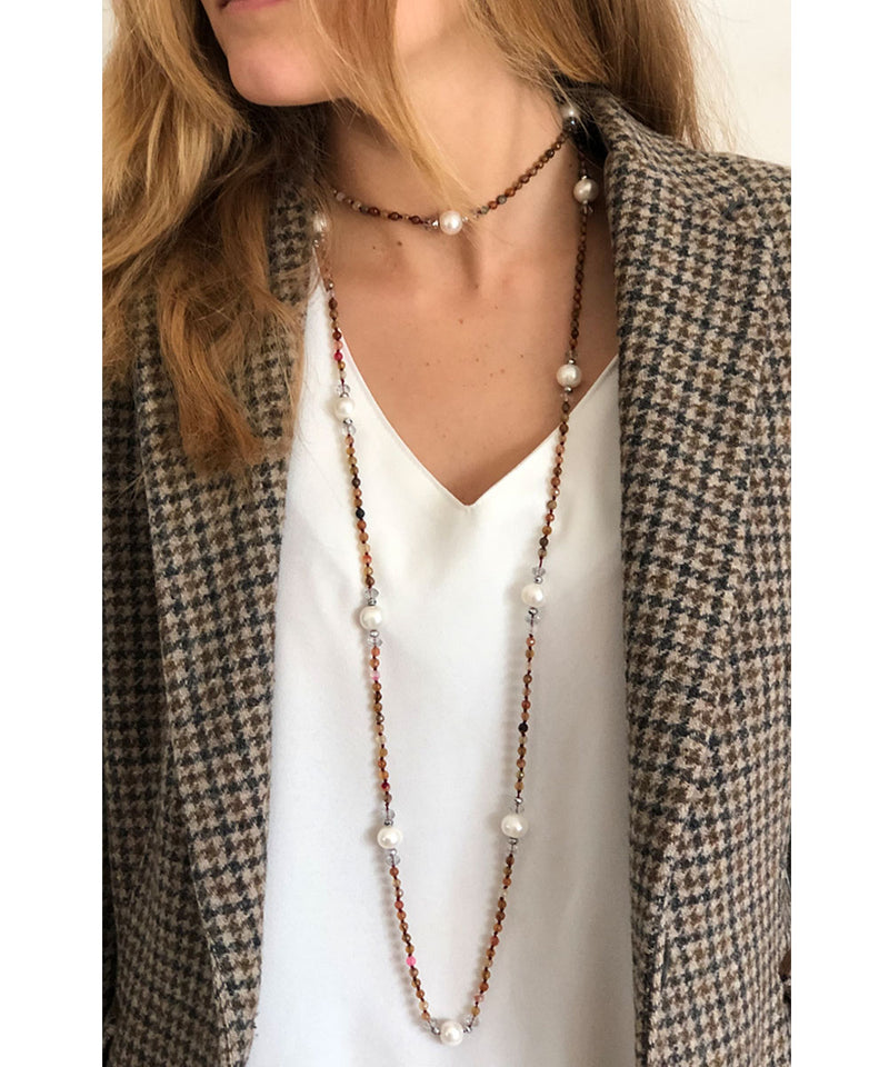 Pink multicolored pearls and agates necklace - Editions LESSisRARE pearls