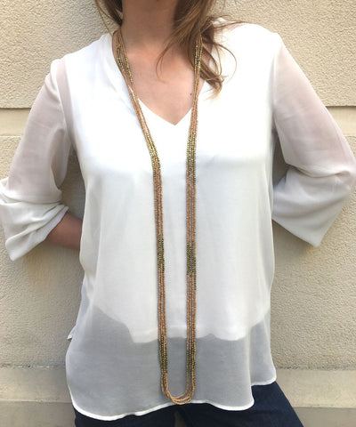 long necklace beaded necklace beige and gold worn long Fonsi