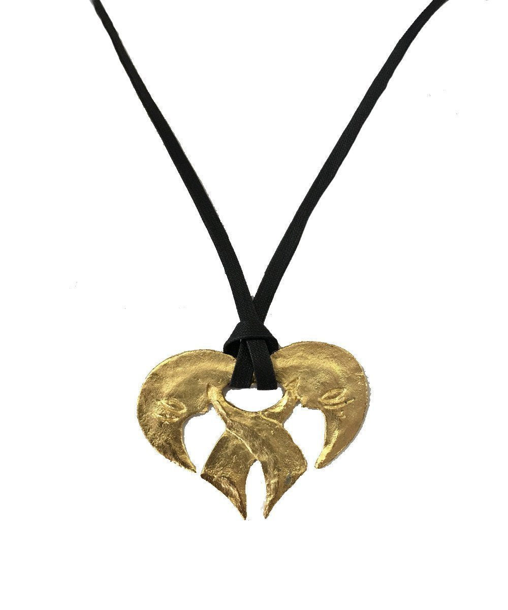 Moons gold plated metal heart pendant - Carole Saint Germes