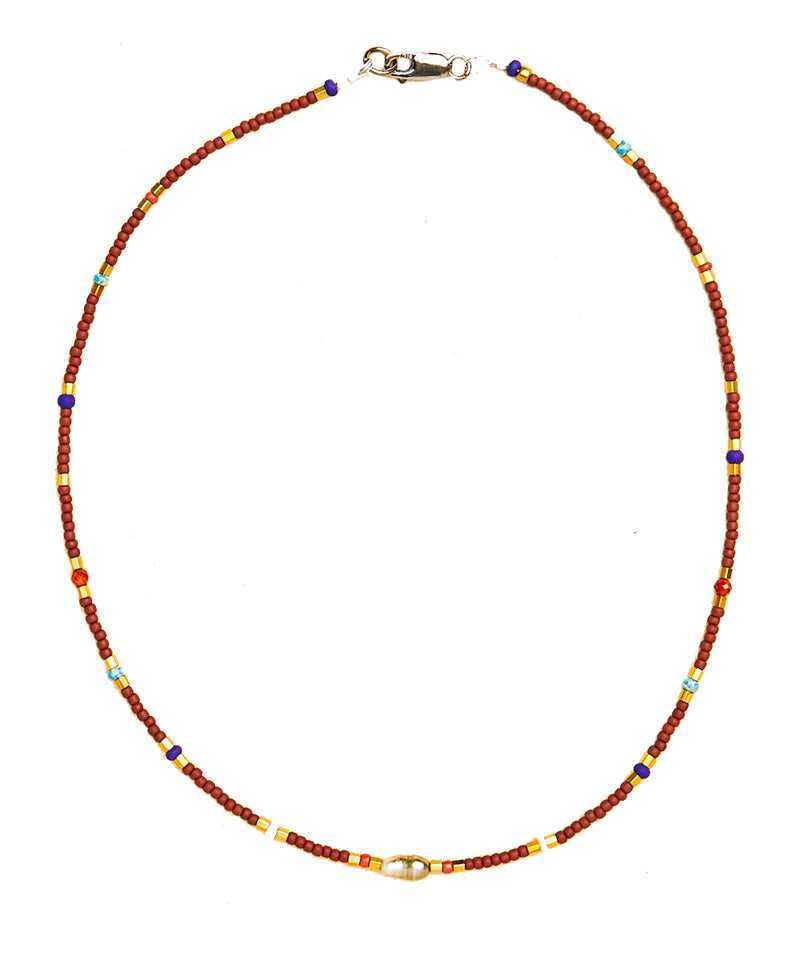 Rosanna necklace, central freshwater pearl from Tahiti and Japanese and Hessonite mosaic pearls - Catherine Michiels