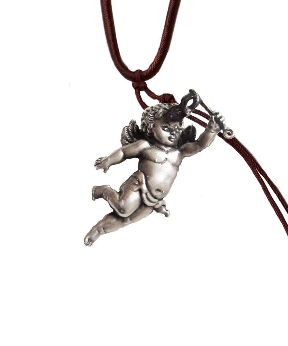 Silver and diamond Putti pendant - Catherine Michiels