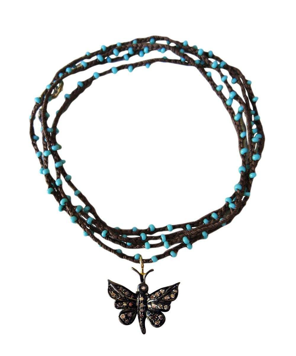 Butterfly Pippa pendant in silver and diamonds on beaded rope - Catherine Michiels