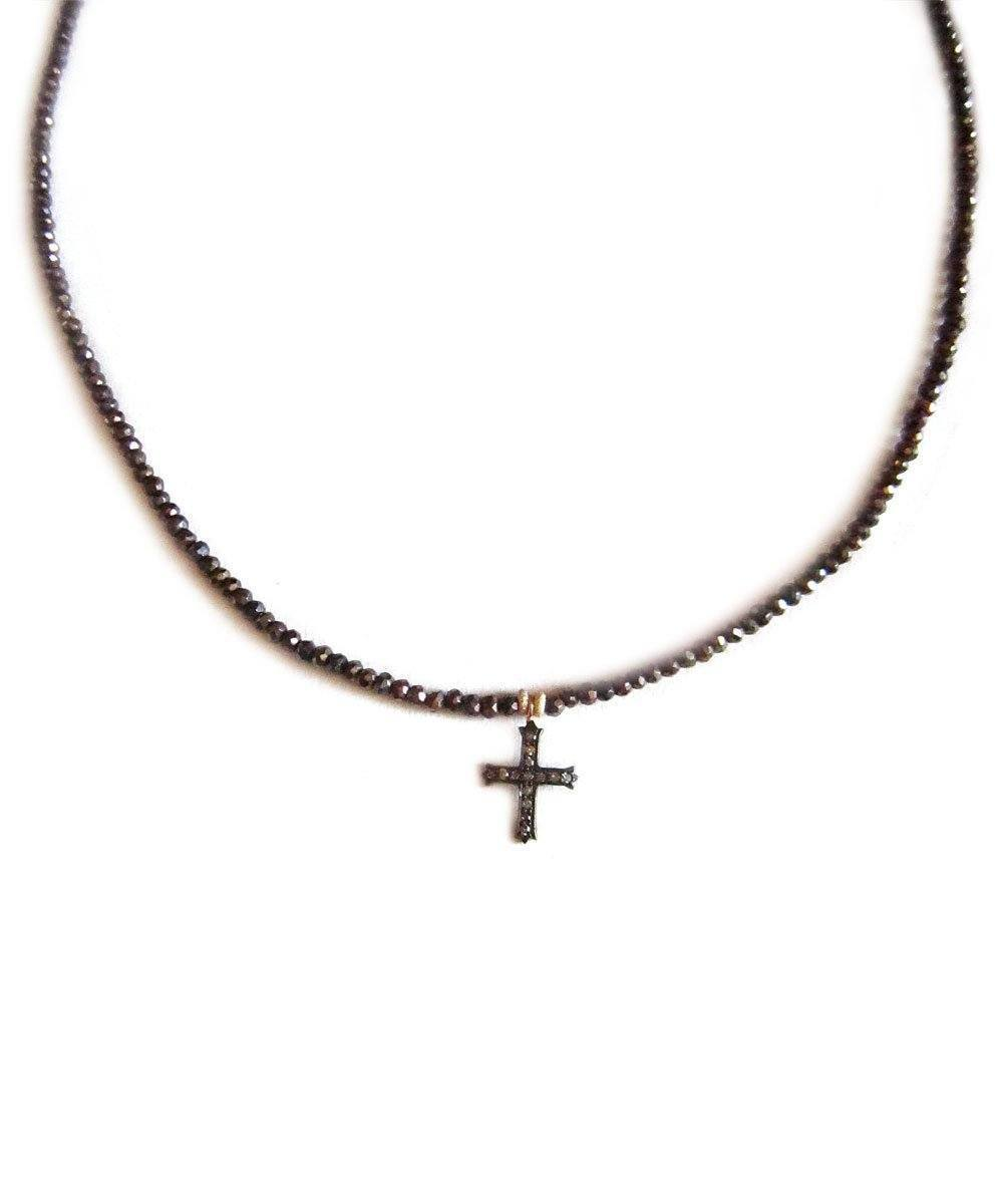 Pyrites pearl necklace and Rosa diamond cross pendant - Catherine Michiels