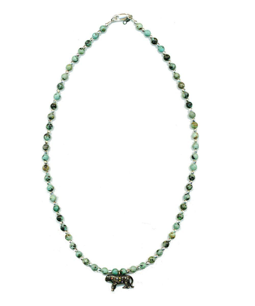 Collier Anacapri en turquoises africaines et perle d'argent tiger incrusté de diamants - Catherine Michiels