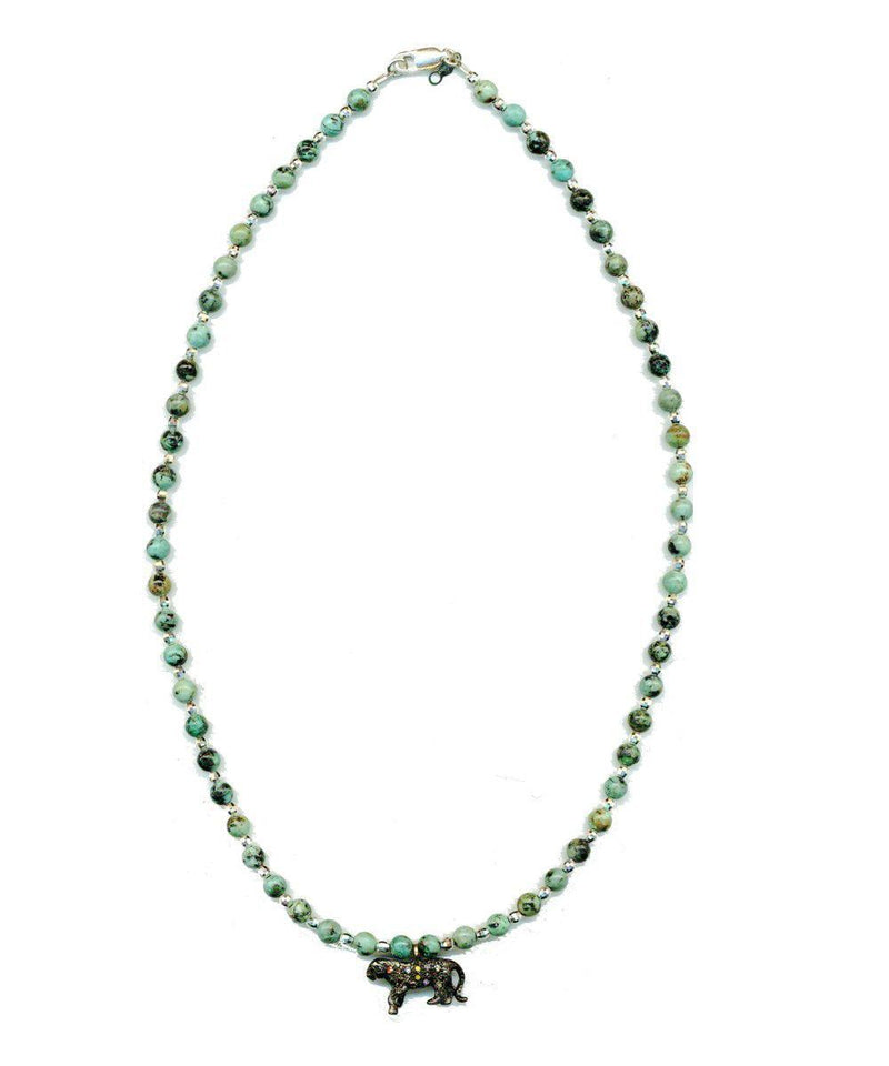 Anacapri necklace in African turquoises and silver tiger pearl inlaid with diamonds - Catherine Michiels