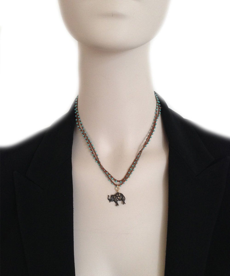 Theodore Elephant pendant in silver and diamonds on pearl necklace - Catherine Michiels