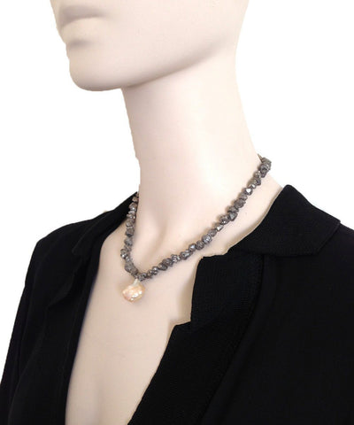 fonsi-necklace-pyrites-silver-and-pearl-baroque Editions LESSisRARE Beads worn 1