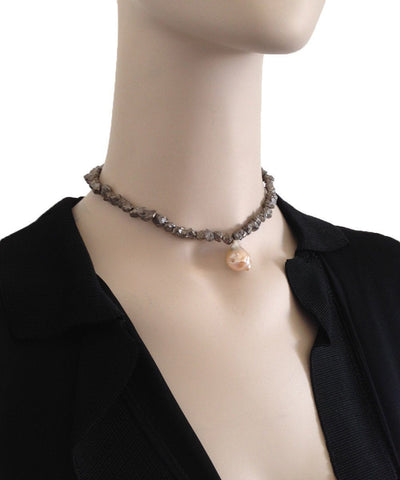 fonsi-necklace-pyrites-silver-and-pearl-baroque Editions LESSisRARE Beads