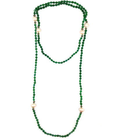 Green agate necklace and freshwater pearls - Editions LESSisRARE pearls