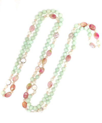 necklace-sautoir-beads-quartz-green-and-pink-pearls-mother-of-pearl 1