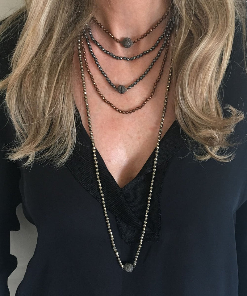 Fonsi gray hematite pearl necklace