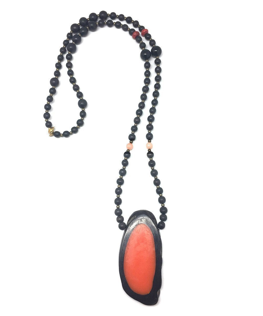 jewels-of-mala-collar-wood-black-orange pendant