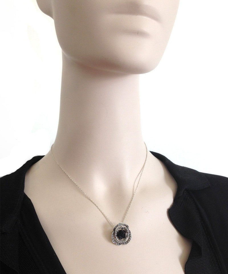 pink onyx, silver and marcasite pendant - Metron