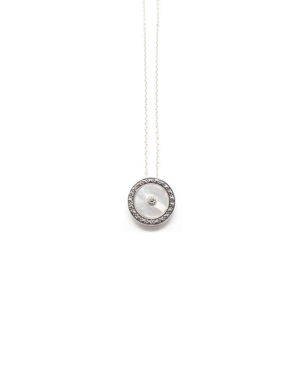 Metron-pendant-round marcasite-pearl-marcasite-Central