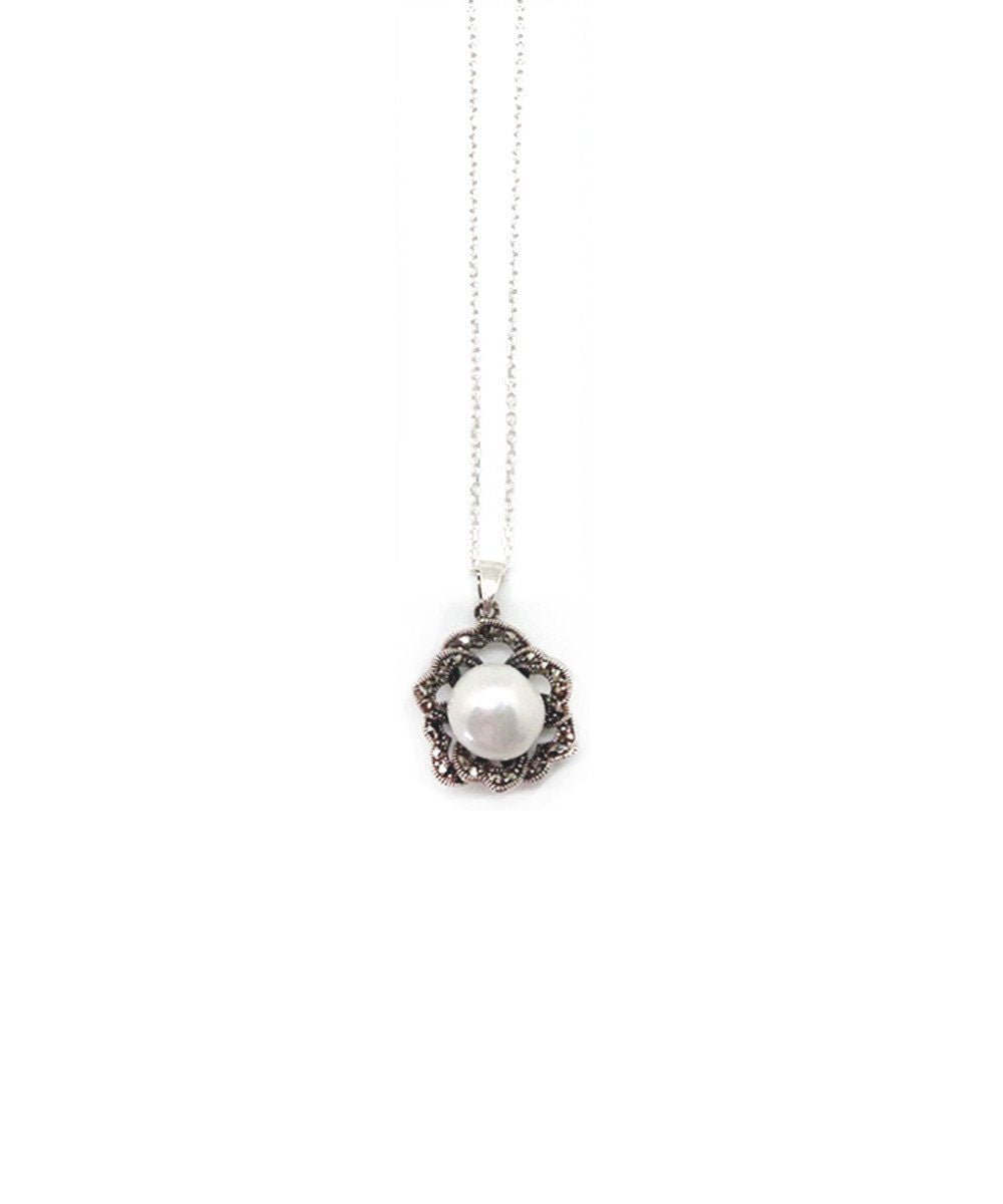 Metron-pendant-in-pink-silver marcasite and pearl