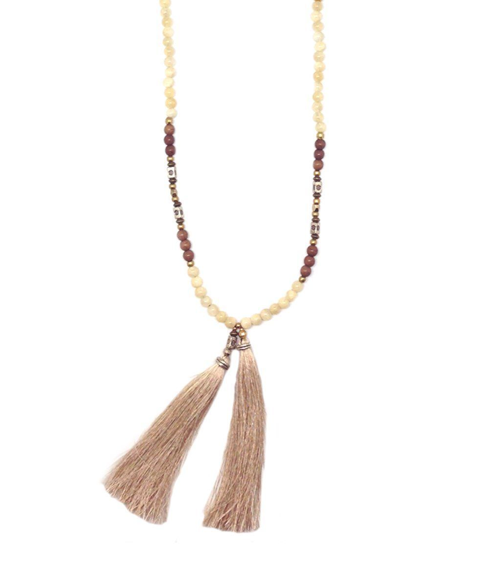 NAKAMOL-necklace-pearl tassels-jasper-beige-and-brown