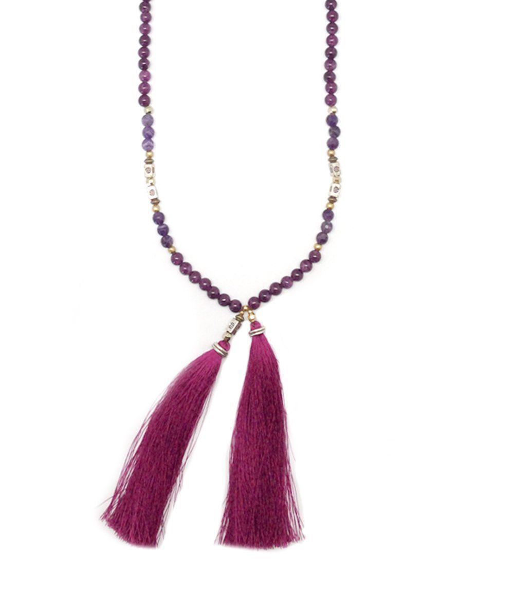 NAKAMOL-necklace-amethyst-beaded tassels,