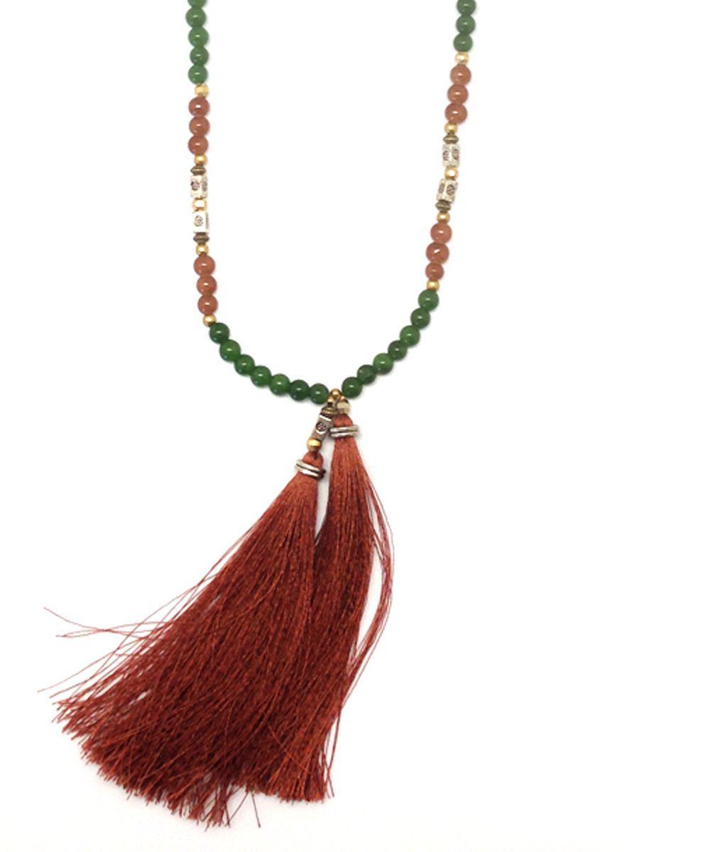 NAKAMOL-necklace-pearl tassels-agate-green-and-brown