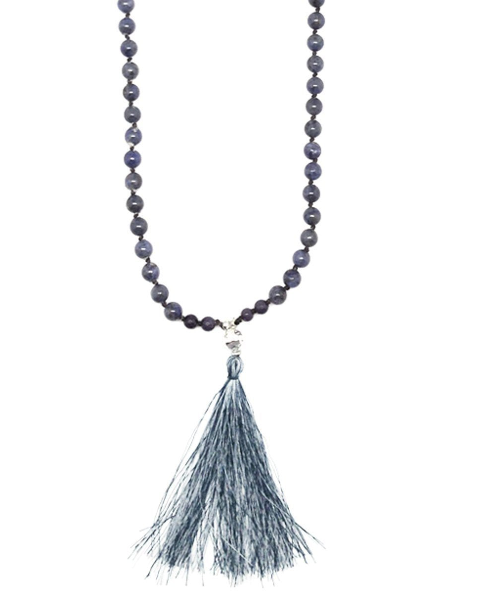 NAKAMOL-necklace tassel-bead-agate-gray