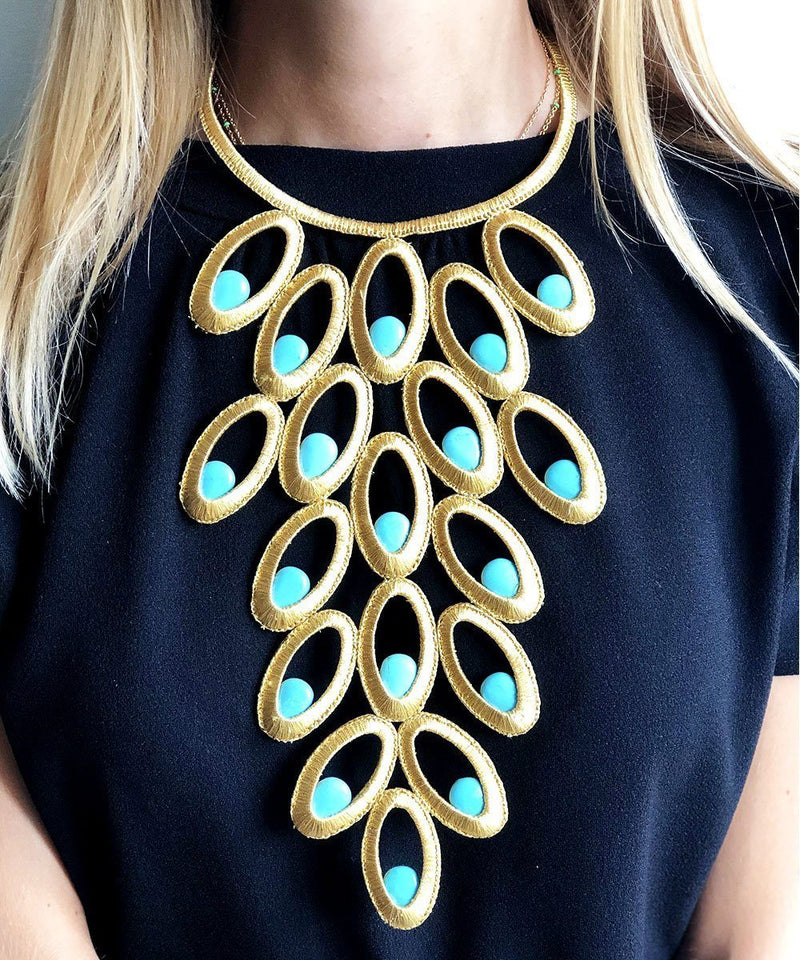 Boks & baum peacock bib necklace