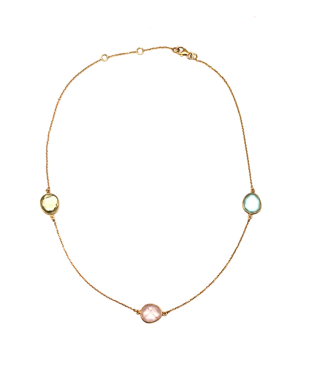 Collier pastel trio quartz rose, calcédoine bleue et citrine