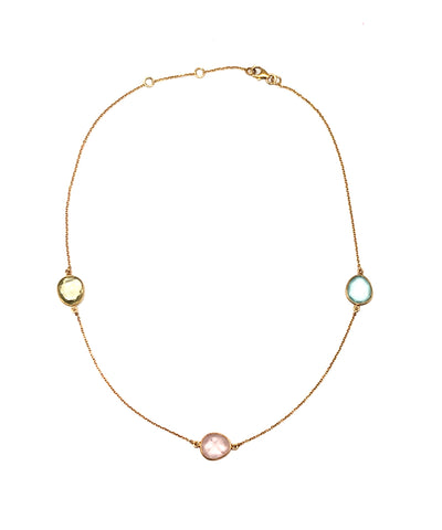 collier pastel quartz rose, calcédoine bleue, citrine