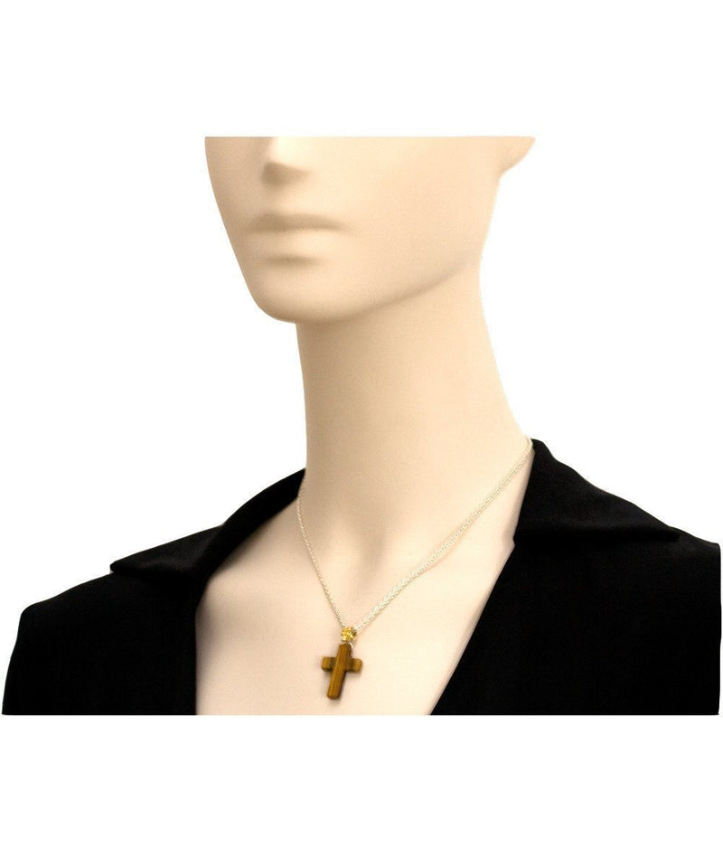 Tiger eye cross necklace - Rafaelis
