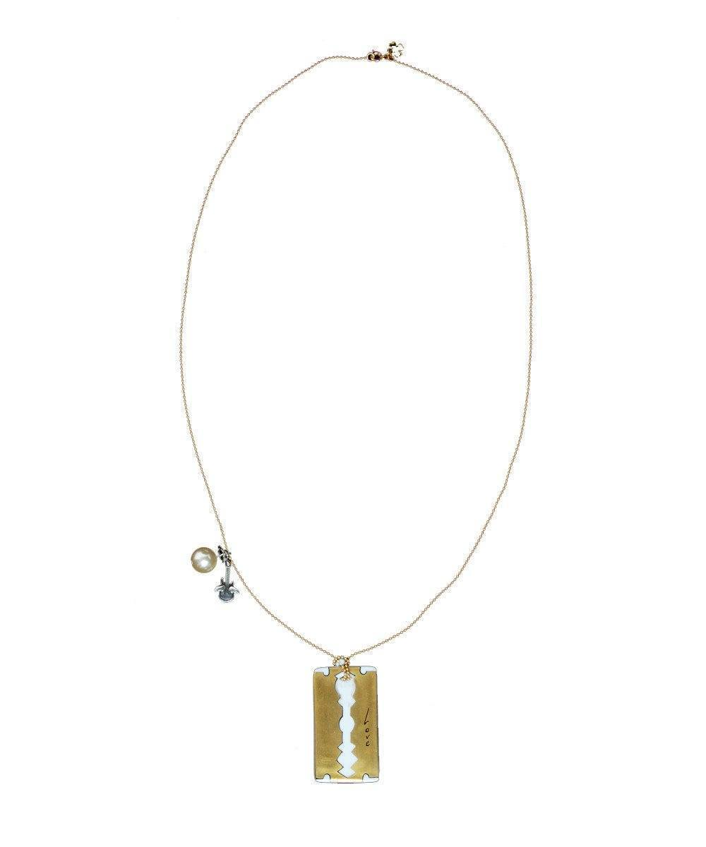 Gold Plated Porcelain Razor Necklace - Rafaelis