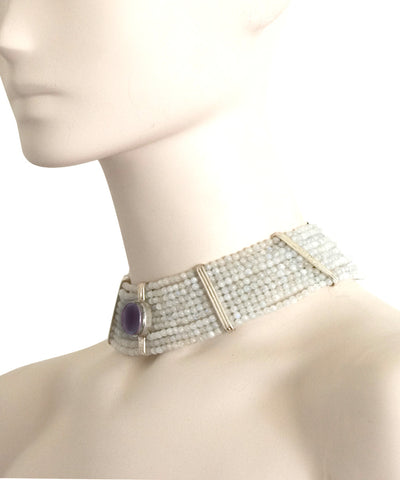 choker-amethyst-choker and worn quartz pearls