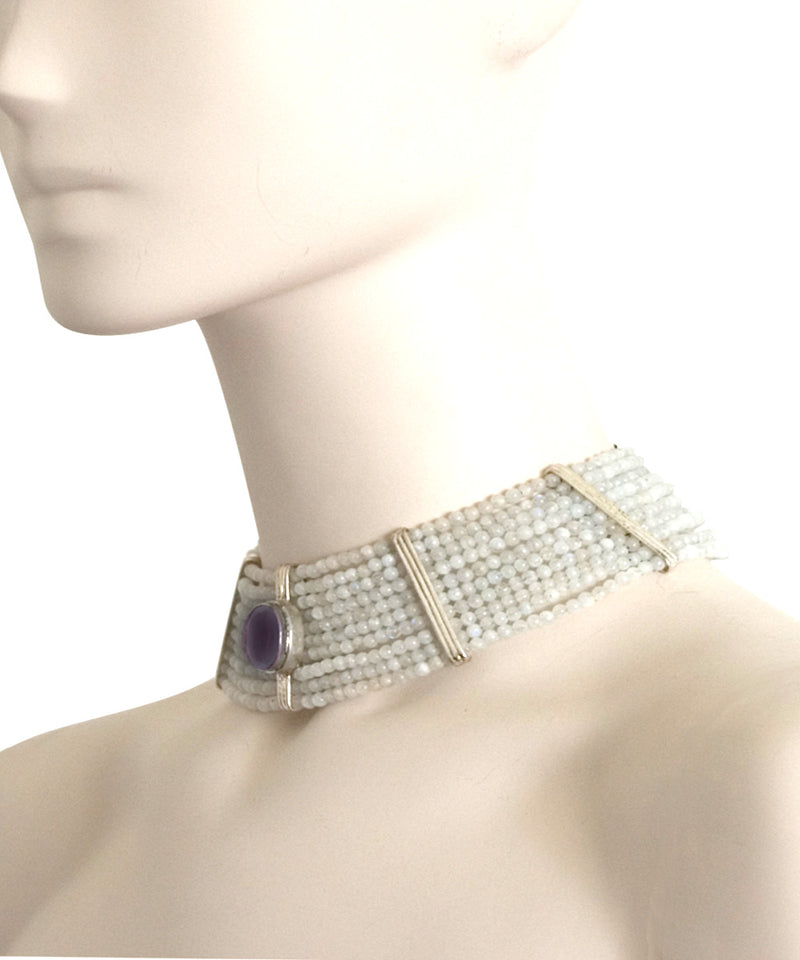 choker-choker-amethyst and quartz beads