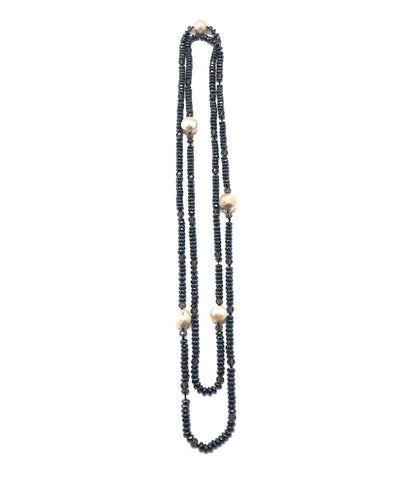 Long necklace beads and hematites gray Editions LESSisRARE Pearls
