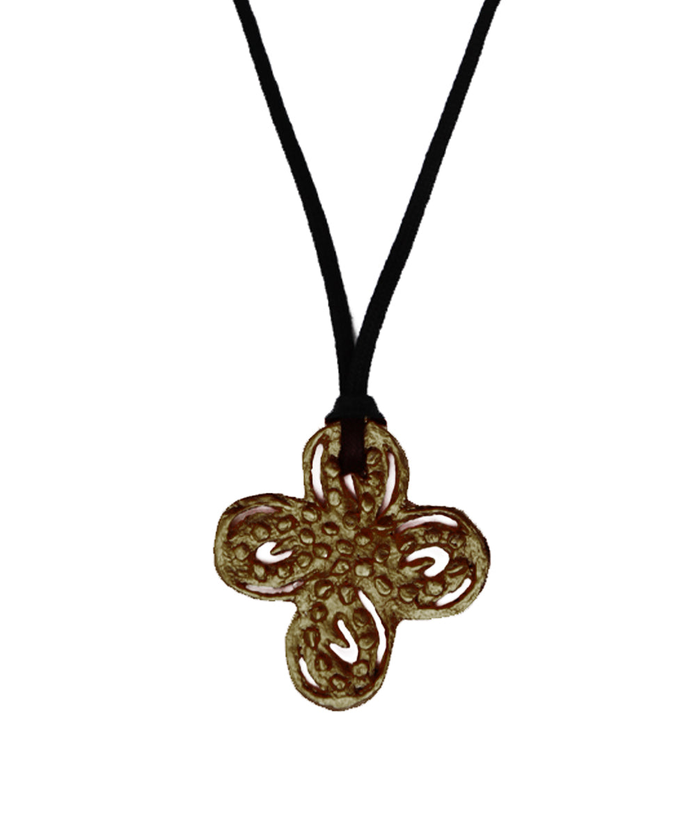 Bronze metal Clover pendant necklace - Carole Saint Germes